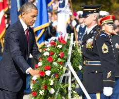 US President Barack Obama lays a wreath during a Veterans' Day ceremony at Arlington National Cemetery in Arlington, Virginia, on November 11, 2012. (AFP PHOTO/Nicholas KAMMNICHOLAS KAMM/AFP/Getty Images)