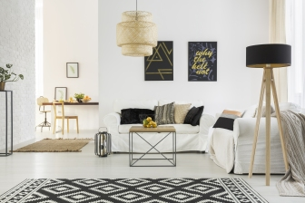 Living Room - White & Geometric Rug.jpg